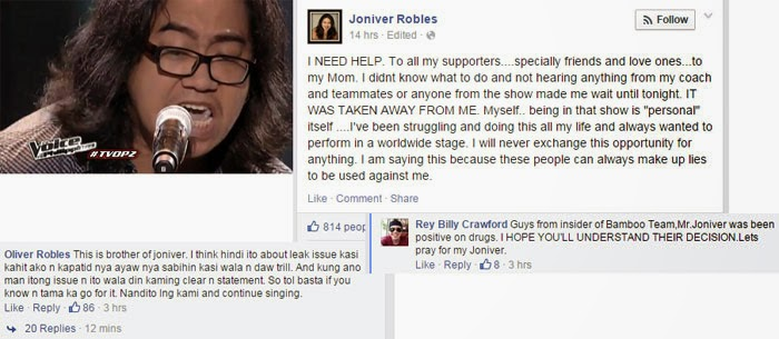 Joniver Robles Asking for Help, Allegedly Removed from The Voice PH Without Valid Reasons