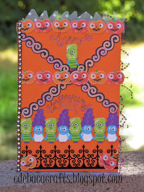 Handmade happy halloween card by CdeBaca Crafts blog.