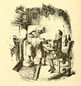 Scrooge and Bob Cratchit by John Leech from A Christmas Carol  by Charles Dickens (1920 reprint of original 1843 edition)