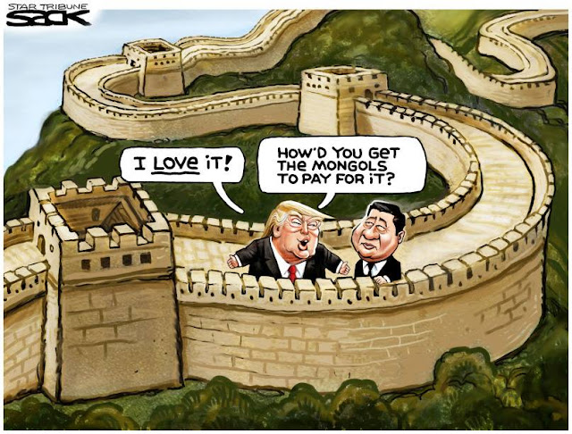 Donald Trump at great wall of China to President Xi:  I love it!  How did you get the Mongols to pay for it?