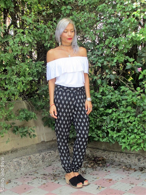 Off The Shoulder Top + Hamsa Pants + Clogs