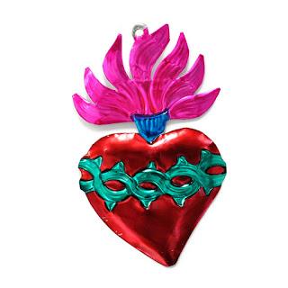 corazón de latón llamas y corona de espinas