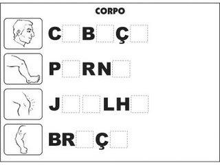 Jogos e atividades para alfabetização - Complete as palavras - Corpo