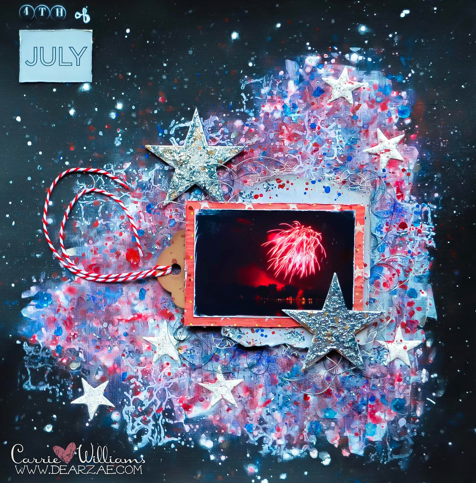 Fourth of July/Independence Day fireworks mixed media layout in red, white, and blue using texture paste and chipboard stars with encrusted jewel technique, glitter, mica fragments, bakers twine, texture paste and stenciling.
