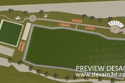 Jasa Gambar Siteplan 3d Taman rekreasi Outbond Waduk buatan