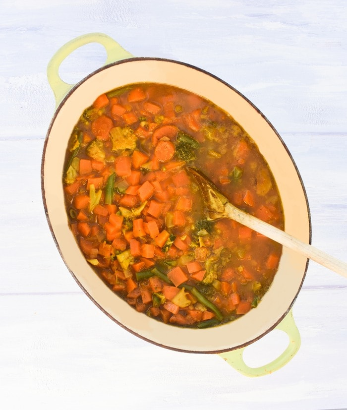 Pot of Easy Carrot & Mixed Vegetable Soup