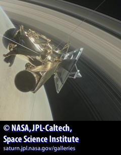 Cassini spacecraft hovering over Saturn's rings and gaseous sphere