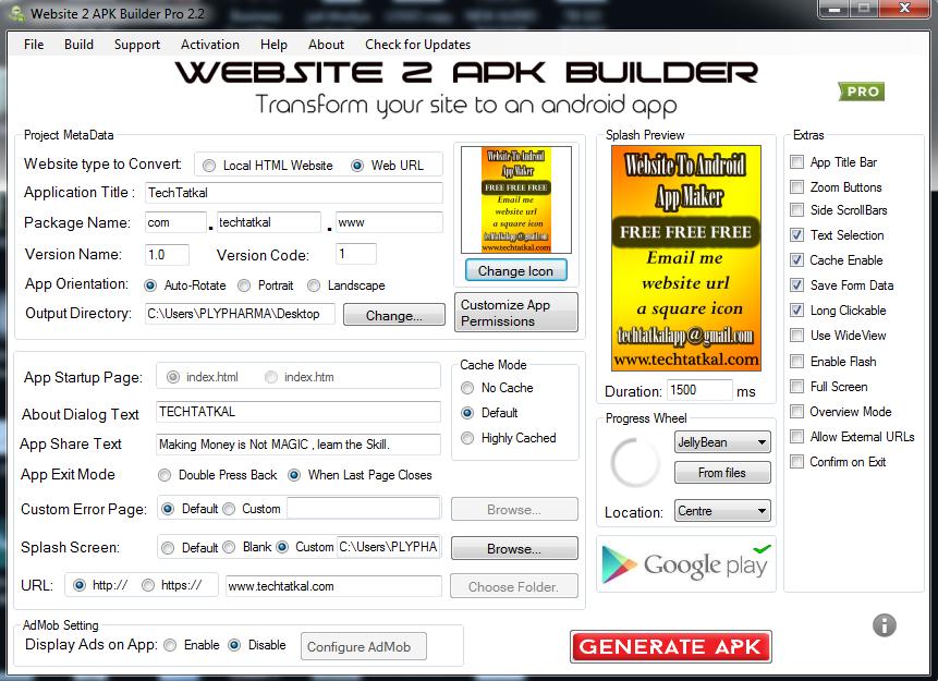 Website to apk builder