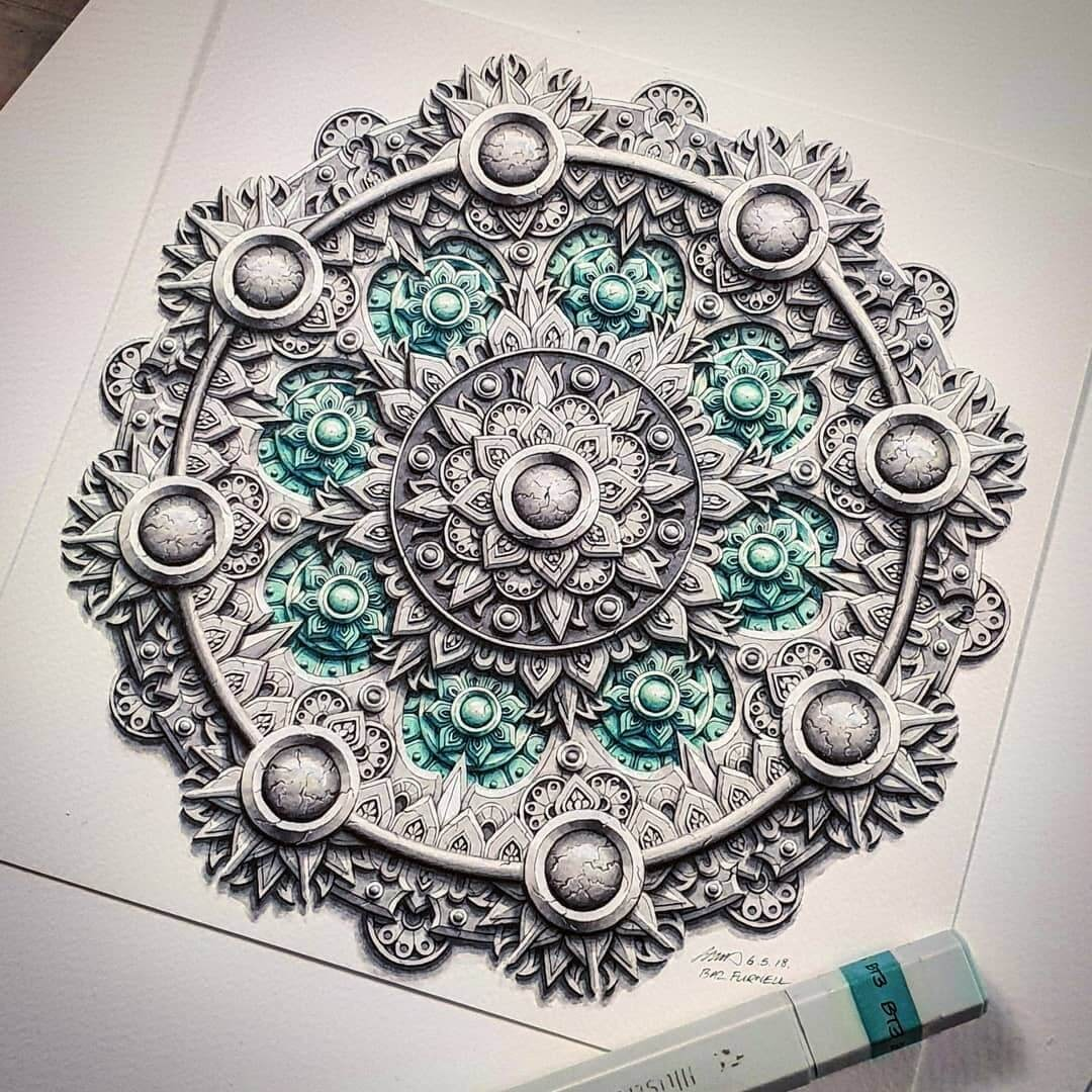 01-Green-Flowers-Baz-Furnell-3D-Looking-Mandala-Drawings-www-designstack-co