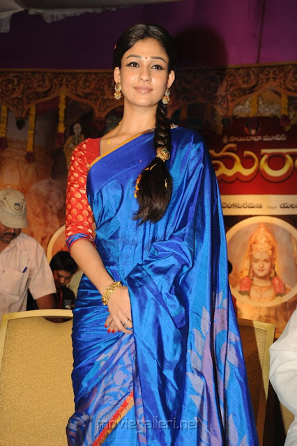 Nayanthara wearing blue colour silk saree with contrast red colour blouse