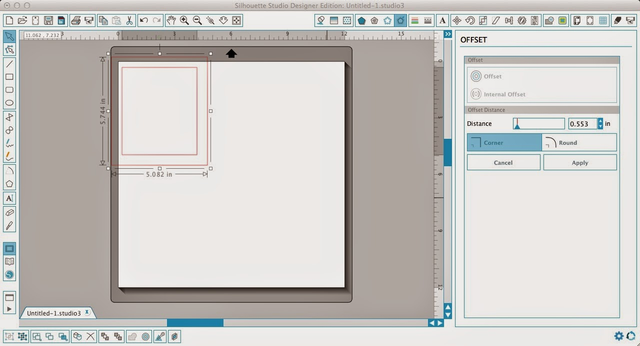 Silhouette Studio, Silhouette tutorial, frame, text, scrapbook layout, offset tool