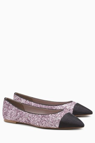 Pink Glitter Point Toe Cap Ballerinas