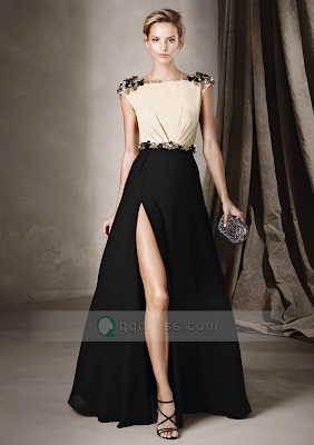 A-line Cap Sleeve Two-Tone Beaded Embroidery Split Front Long Prom Dress