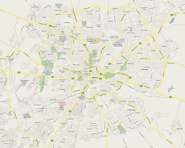 Mapa da cidade de Harare – Zimbábuwe