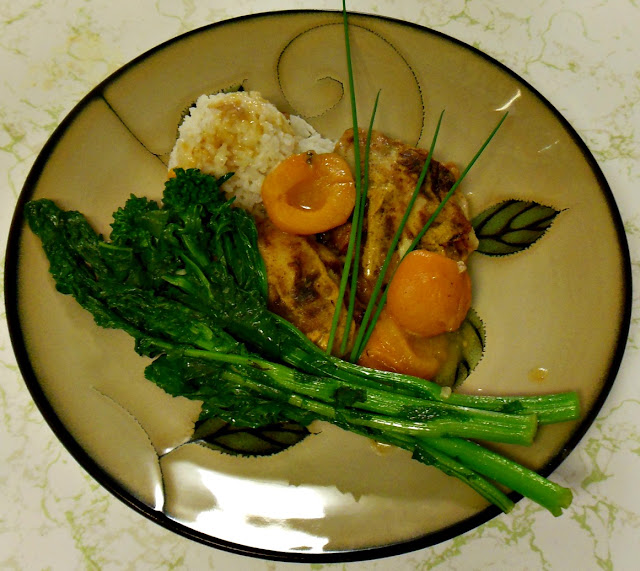 Wordless Wednesday. Recipe for Truffle Oil Mustard Chicken with Apricots.