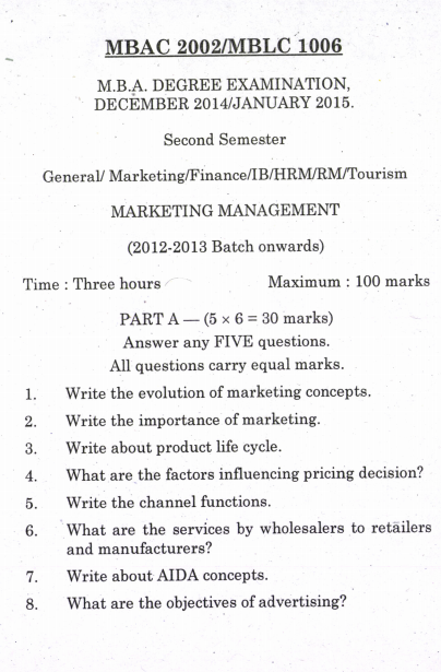 Mba examination paper of marketing management Term paper