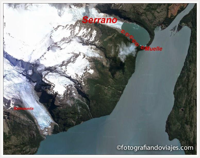 Mapa fiordo ultima esperanza, glaciar Serrano y Balmaceda en Chile