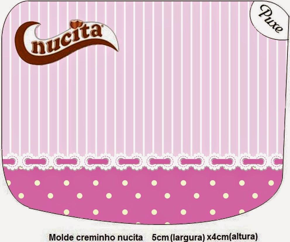 Etiqueta Nucita para Imprimir Gratis de Rayas y Lunares en Lila y Blanco.
