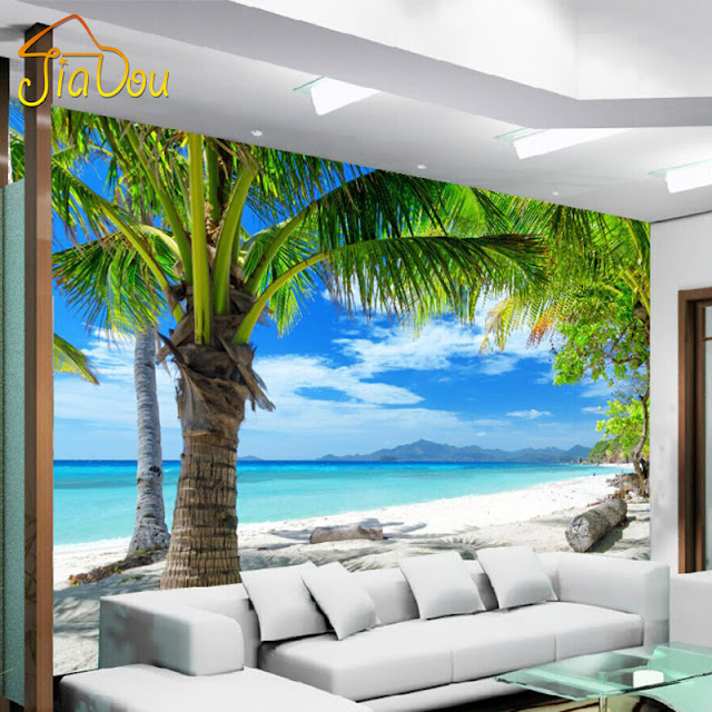 Scenic Wall Murals 3D Photo Wallpaper Bedroom Wall Murals Livingroom Mediterranean Beach Palm Tree Tropical
