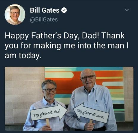 Bill Gates wishes his dad Happy Father's daddy with affectionate pic and Tweet