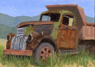 painting dump truck art abandoned rust chevy
