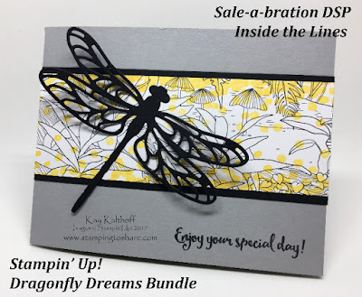 Stampin' Up! Dragonfly Dreams Bundle using Sale-a-bration Inside the Lines DSP by Kay Kalthoff with Stamping to Share