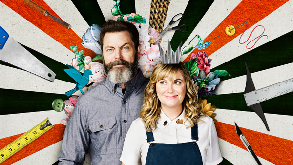 promotional image for 'Making It' showing Nick Offerman and Amy Poehler