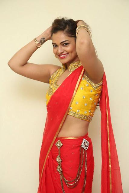 Actress Ashwini Po Shoot Stills In Red Saree With Golden Choli (4).jpg