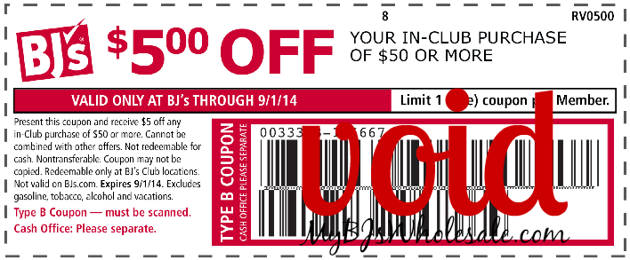 $5 Off $50 BJs Wholesale Coupon