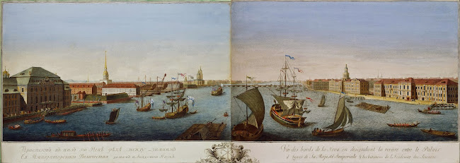 Grigory Anikievich Katchalov (c.1712 - 1759) - View of Neva Downstream between Winter Palace and Academy of Sciences (c.1753)