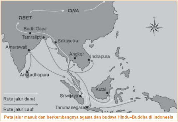 Peta jalur masuk dan berkembangnya agama dan budaya Hindu–Buddha - Jalur Darat dan Jalur Laut