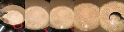 Photo showing the progression of curdling soy milk, starting with adding Epsom salts and water solution to hot soy milk to fully curdled and ladling into form. https://trimazing.com/