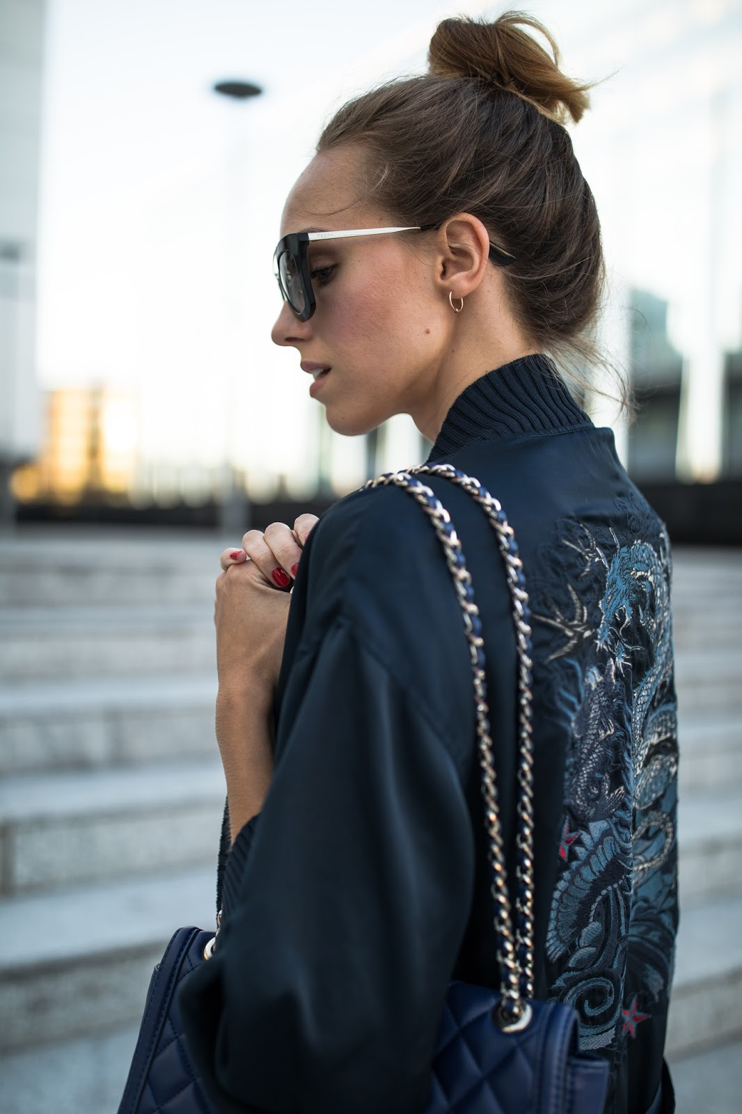 navy embroidered kimono outfit