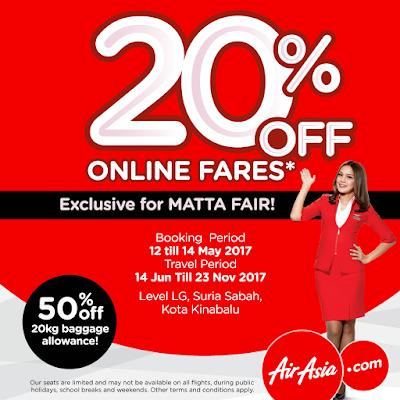 AirAsia Online Fares Discount Promo MATTA Fair Kota Kinabalu
