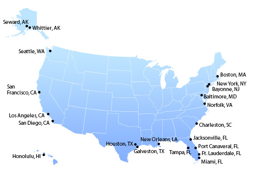US Shipping Terminal To The Caribbean Top Water Ports By - China to us seaports map
