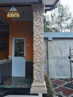 Ukiran pilar teras dari batu alam paras jogja (Batu putih) motif ukiran klasik atau ukiran jawa