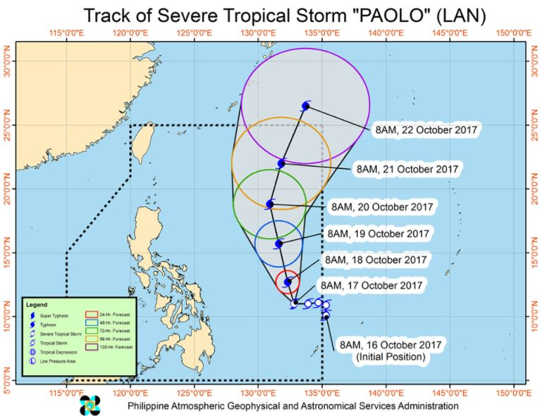 Bagyong Paolo track October 17 2017