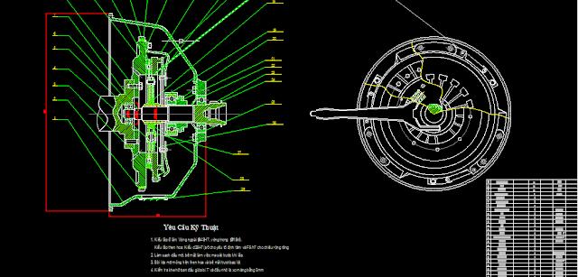 Bản vẽ đồ án thiết kế hệ thống ly hợp trên xe con
