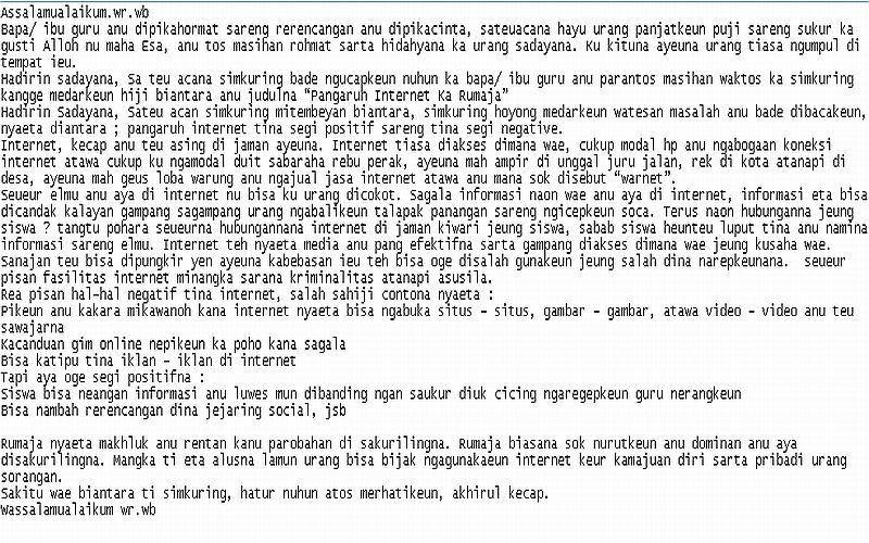 contoh karangan essay dina bahasa sunda