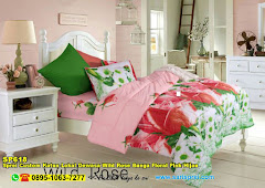 Sprei Custom Katun Lokal Dewasa Wild Rose Bunga Floral Pink Hijau