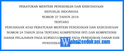 Permendikbud Nomor 37 Tahun 2018 Tentang KI dan KD K13 SD, SMP, SMA