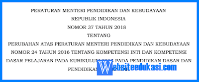Permendikbud Nomor 37 Tahun 2018