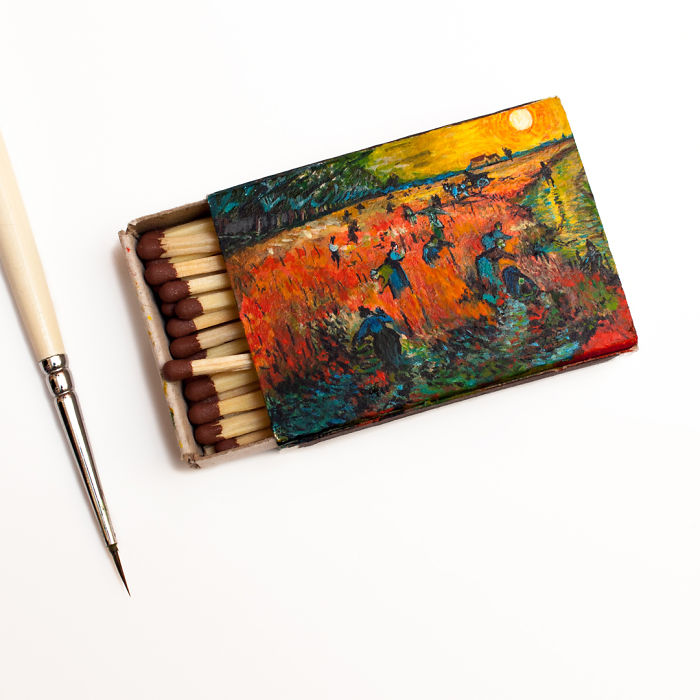 08-The-red-vineyards-near-Arles-Vincent-Van-Gogh-Salavat-Fidai-Салават-Фидаи-Miniature-Paintings-on-Matchboxes-and-Pumpkin-Seeds-www-designstack-co