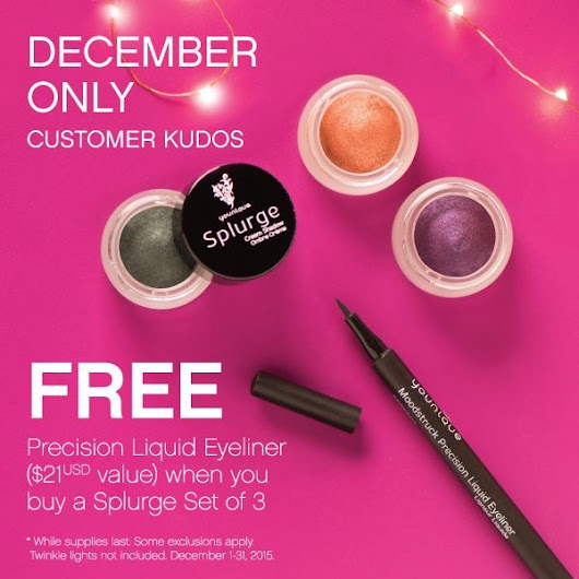 December 2015 Kudos: FREE Black Liquid Eyeliner pen when you buy Splurge set of 3!