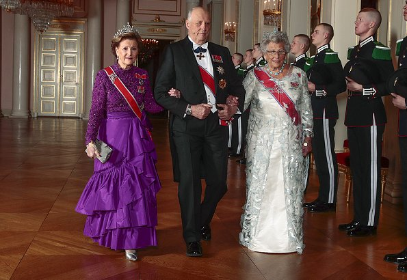 Queen Sonja in Queen Maud's Pearl Tiara and Brooch, Princess Astrid is wearing Queen Alexandra's Turquoise Circlet