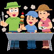 バーベキューをする家族のイラスト