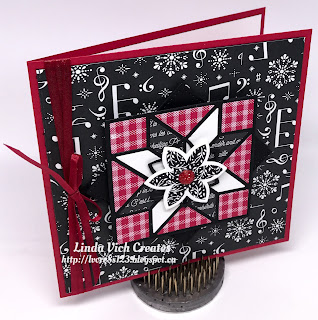 Linda Vich Creates: Quilt Builder Christmas Card. Red, white and black create a dynamic quilt pattern using the Merry Music DSP on this Christmas card.