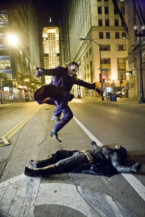 just heath ledger jumping over christian bale