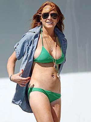 Lindsay Lohan Green Bikini 101