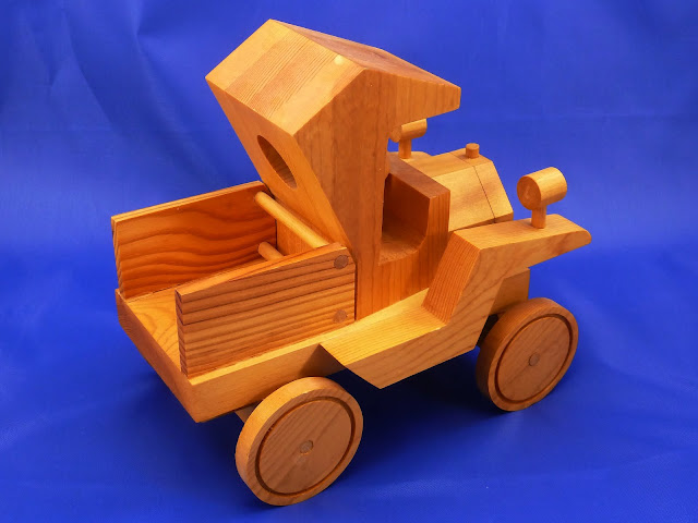 Right Rear View - Wooden Toy Truck - Norm Marshall Model T Pickup Truck